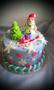 торт елка и снеговик на заказ